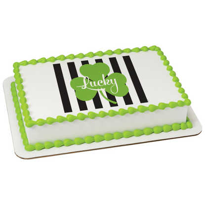 Happy St. Patrick's Day - Lucky Stripes PhotoCake® Image