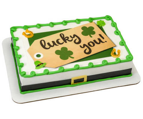Happy St Patrick's Day - Lucky You Tag PhotoCake® Image