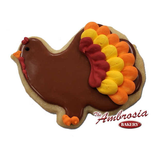 Decorated Turkey Cut-Out Cookie.