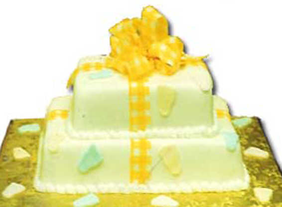 Two Tier Fondant Presents with Baby Feet