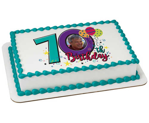 Happy 70th Birthday PhotoCake® Edible Image® Frame