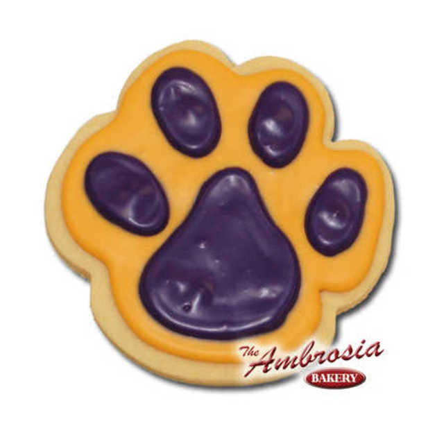 Decorated Tiger Paw Cut-Out Cookie