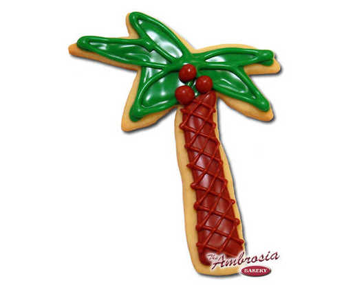 Decorated Palm Tree Cut-Out Cookie