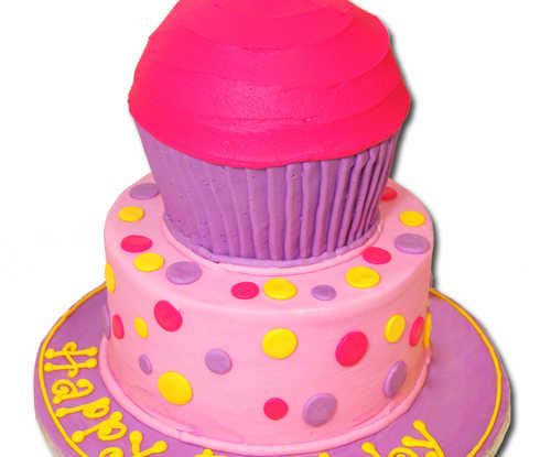 GIANT Cupcake Cake on Double Layer Cake