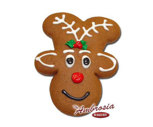 "Decorated Rudolph ""Gingerbread"" Cut-Out Cookie"