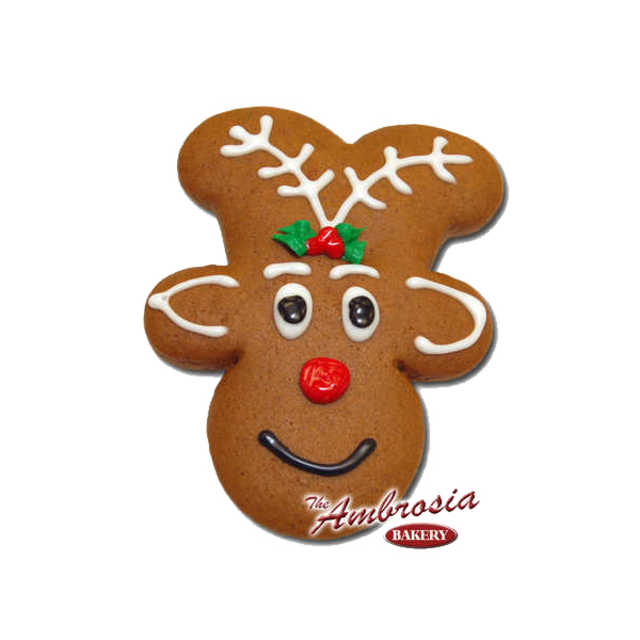 """Decorated Rudolph """"Gingerbread"""" Cut-Out Cookie"""