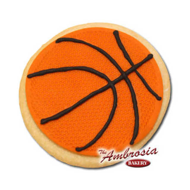Decorated Fondant Basketball Cut-Out Cookie