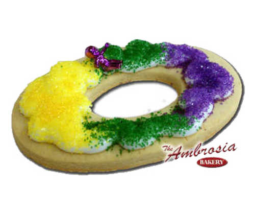Decorated Mardi Gras King Cake Cut-Out Cookie