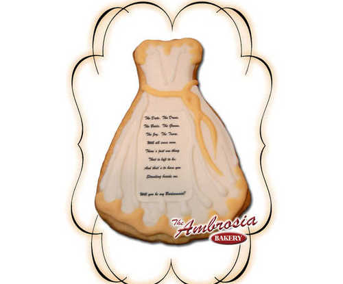 Decorated Bridesmaid Cut-Out Cookie