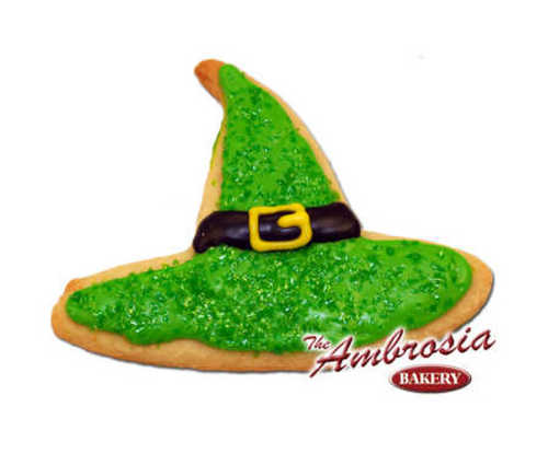 Decorated Halloween Witch Hat, Cut-Out Cookie