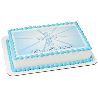 Bless This Child-Blue PhotoCake® Image