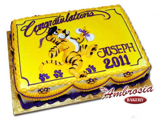 Dancing Tiger Cake with Graduation Cap