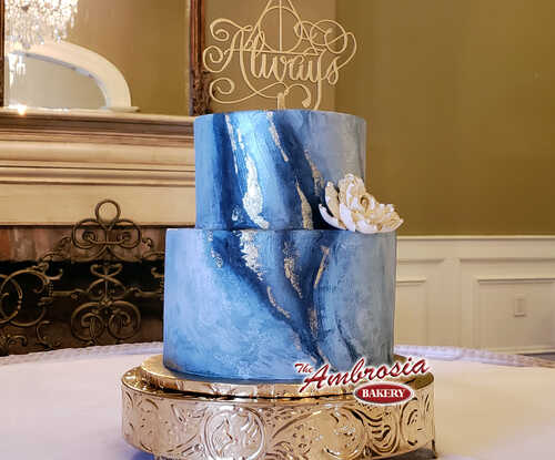 Painted Geode 2 Tier Wedding / Anniversary Cake with Gold or Silver