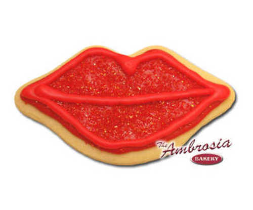 Decorated Hot Lips Cut-Out Cookie