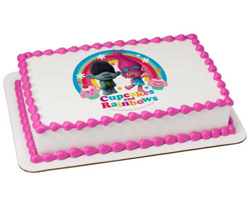 DreamWorks - Trolls Cupcakes & Rainbows PhotoCake® Edible Image®