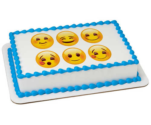 "Emoji Full of Smiles 3"" Round PhotoCake庐 Image"