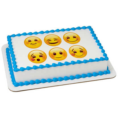 "Emoji Full of Smiles 3"" Round PhotoCake® Image"
