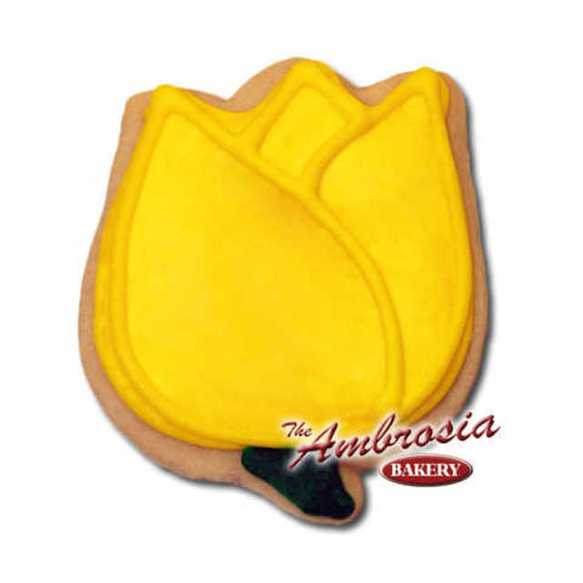 Decorated Tulip (Yellow) Cut-Out Cookie
