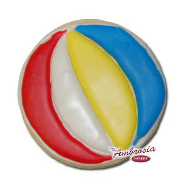 Decorated Beach Ball Cut-Out Cookie