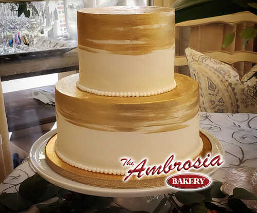 Painted 2 Tier Wedding / Anniversary Cake with Gold or Silver