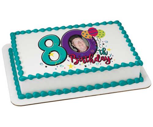 Happy 80th Birthday PhotoCake® Edible Image® Frame