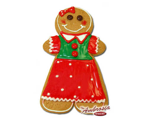 "Decorated Large Gingerbread ""Girl"" Cut-Out Cookie!"