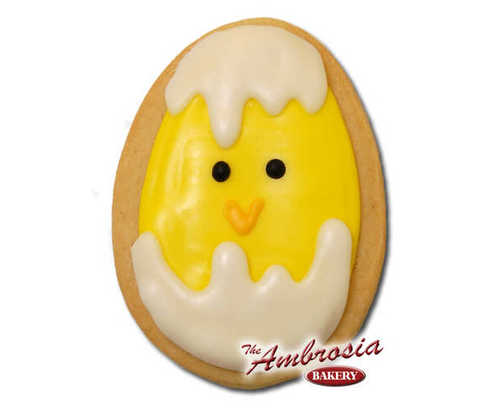 Decorated Easter Chick in Egg Cut-Out Cookie