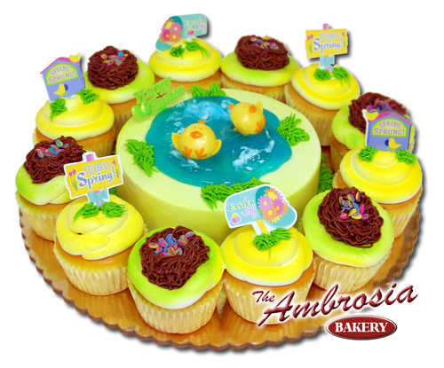 Easter Chicks with 6 Inch cake & Dozen Cupcakes