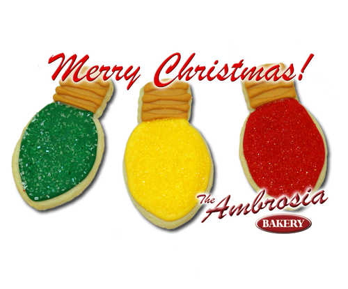 Decorated Christmas Light Cut-Out Cookies (set of 3)