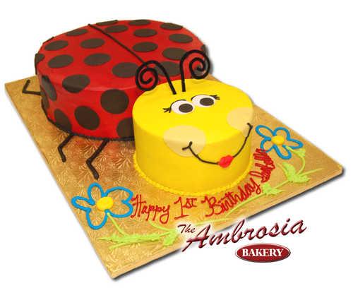 2-D Ladybug Sculpted Cake