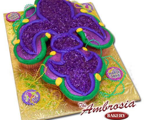 Mardi Gras fleur de lis Cupcakes - One Dozen