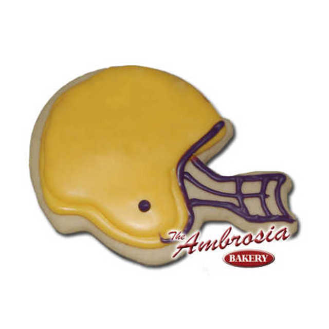 Decorated Football Helmet Cut-Out Cookie