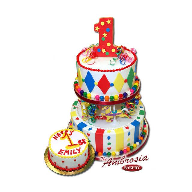Bubble Gum 2 Tier 1st Birthday Cake