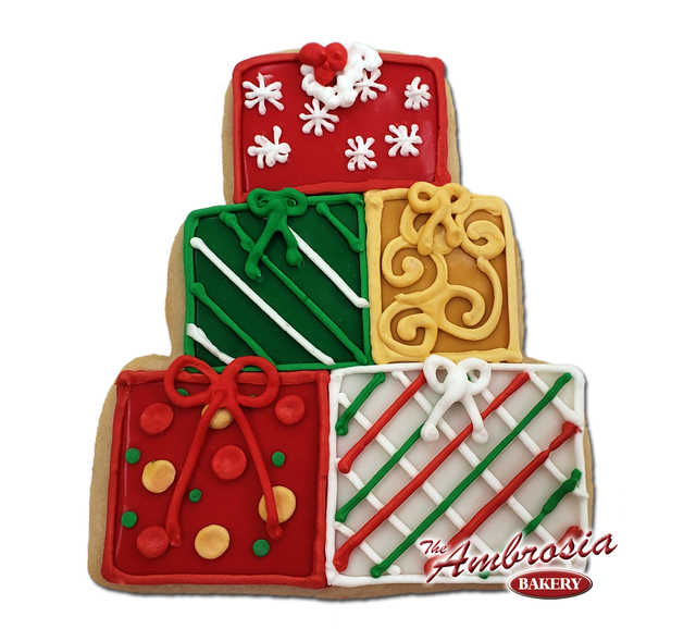 Decorated Christmas Presents Cutout Cookie