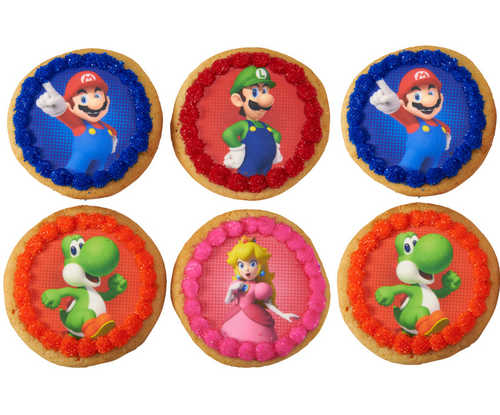 6 Decorated Super Mario™ Power Play PhotoCake® Edible Image® Cookies