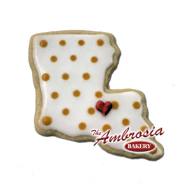 Decorated Heart of Louisiana Cut-Out Cookie
