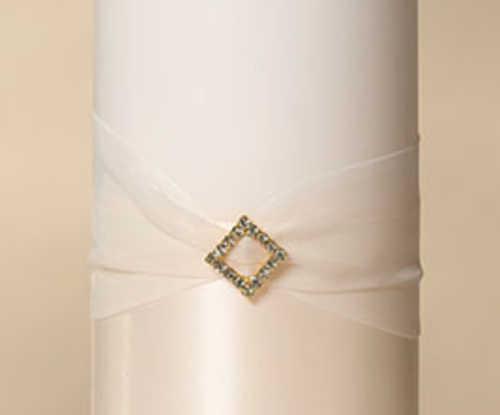 Pillar Candle - Ivory Diamond with Ribbon