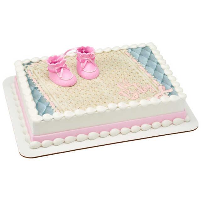Pink Baby Booties PhotoCake® Edible Image® DecoSet® Background