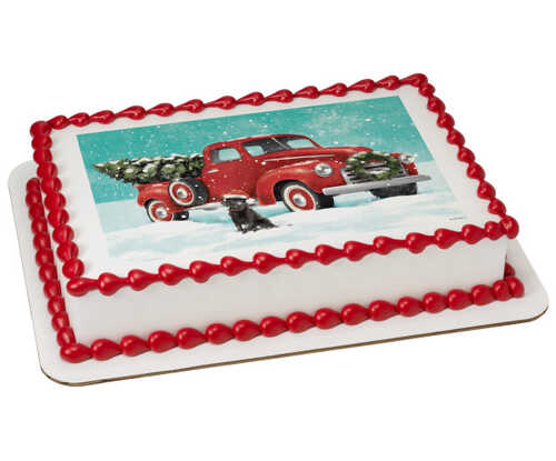 Classic Red Truck with Tree PhotoCake® Edible Image®