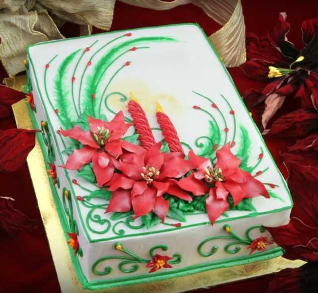 Christmas Cake Decorations Flowers: Poinsettia Cake