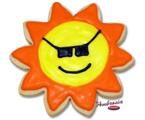 Decorated Sun Shades Cut-Out Cookie