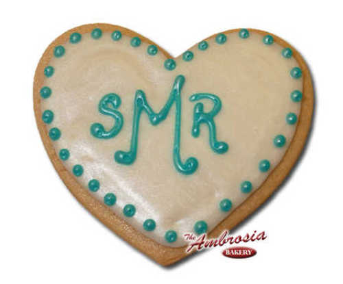 Decorated Bridal Shower Monogram Cut-Out Cookie - Heart Shaped