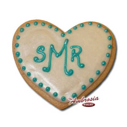 Bridal Shower Monogram Cut-Out Cookie - Heart Shaped