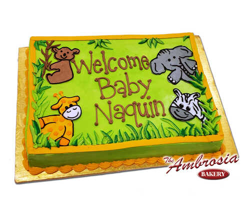 Jungle Animals Baby Shower or 1st Birthday Cake