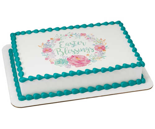 Floral Easter Blessings PhotoCake® Edible Image®