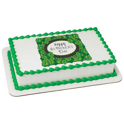 Happy St Patrick's Day Shamrocks PhotoCake® Image