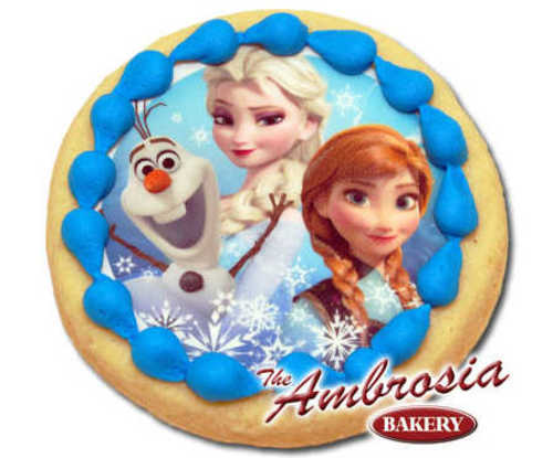 Decorated Disney FROZEN - Olaf, Elsa and Anna, Edible Image® Cookie