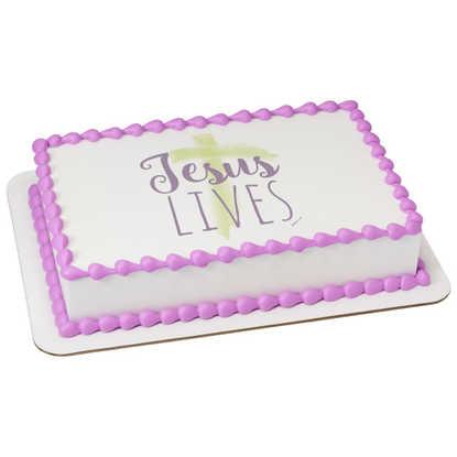 Watercolors Jesus Lives PhotoCake® Edible Image®