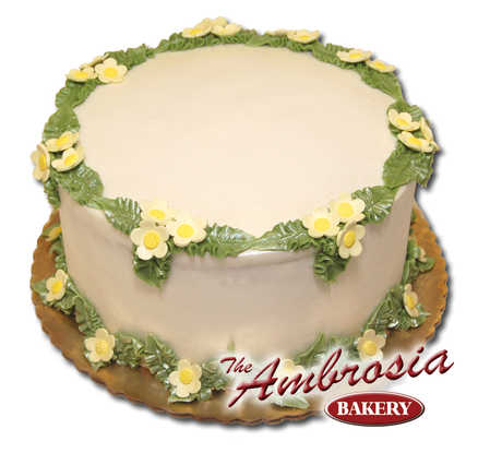 Fondant Daisies w/Leaves & Pearled