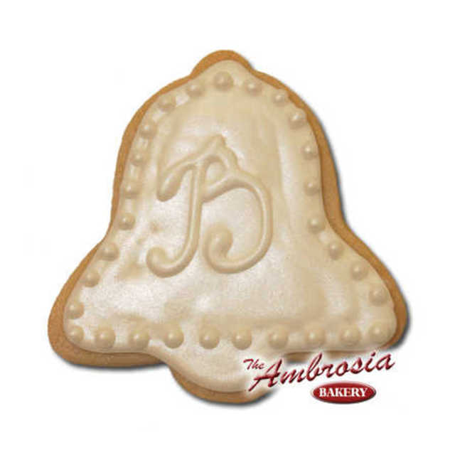 Decorated Wedding Bell Cut-Out Cookie with Initial